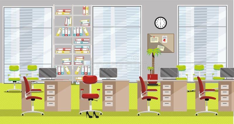 Płaska ilustracja nowożytny biurowy wnętrze z 4 stołami, claret krzesłami, wielkimi okno i jasnozielonym dywanem w drapacz chmur, ilustracja wektor