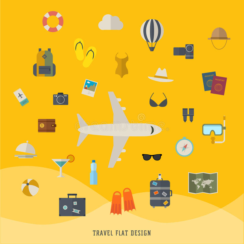 Płaska ilustracja podróż ilustracja wektor