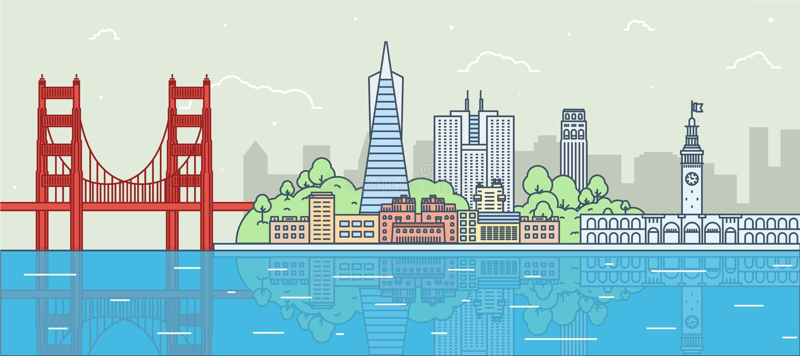 Płaska ilustracja San Fransisco, Kalifornia ilustracja wektor