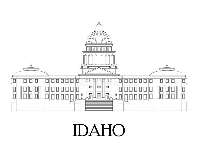 Płaska ilustracja w liniach Idaho stanu Capitol ilustracji
