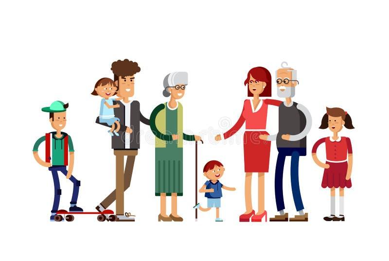 Płaska ilustracyjna pokolenie rodzina royalty ilustracja