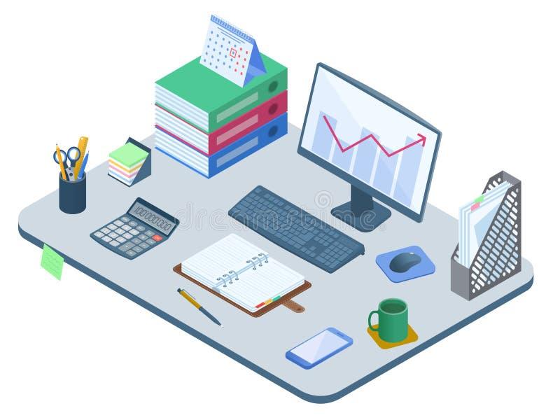 Płaska isometric ilustracja biurowy miejsce pracy Wektorowy pracy des ilustracja wektor