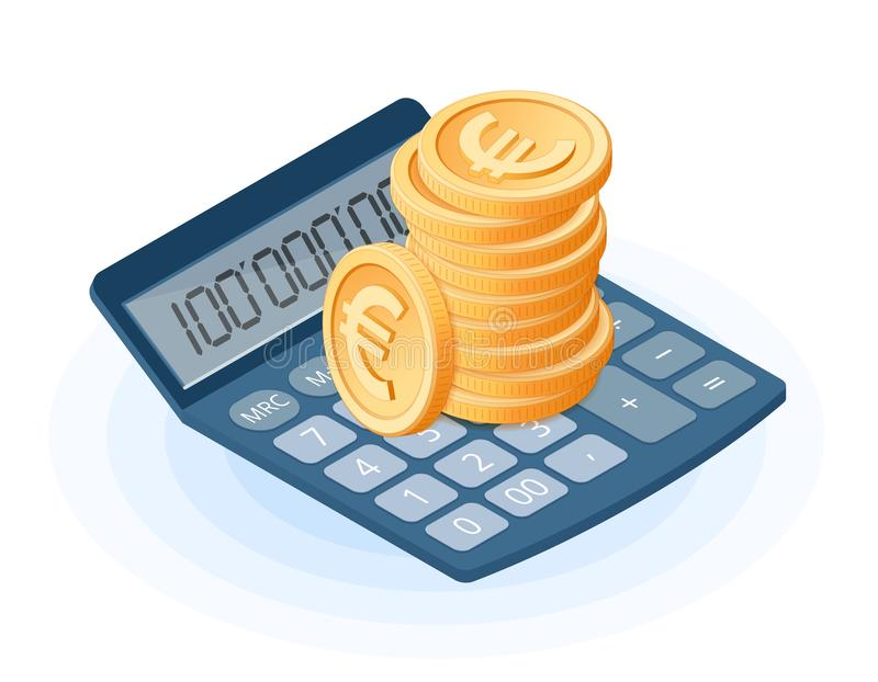 Płaska isometric ilustracja stos euro monety na calcula royalty ilustracja