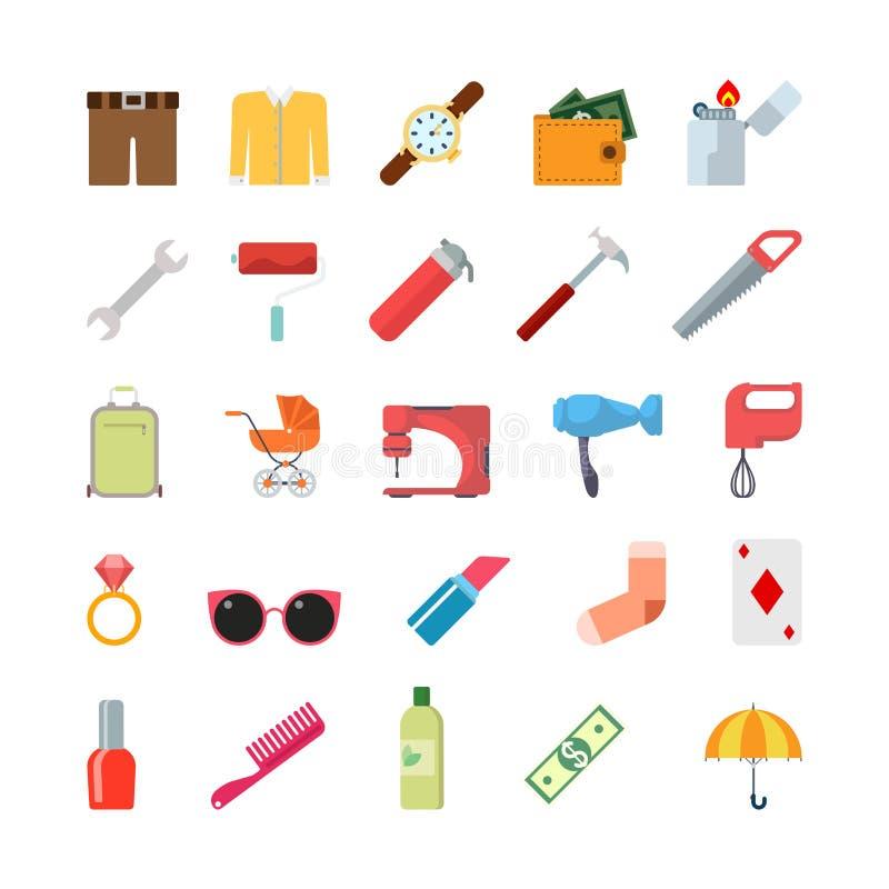Płaska kreatywnie stylowa nowożytna misc styl życia odzież wytłacza wzory infographic wektorowego ikona set Skrótu puloweru zegar royalty ilustracja
