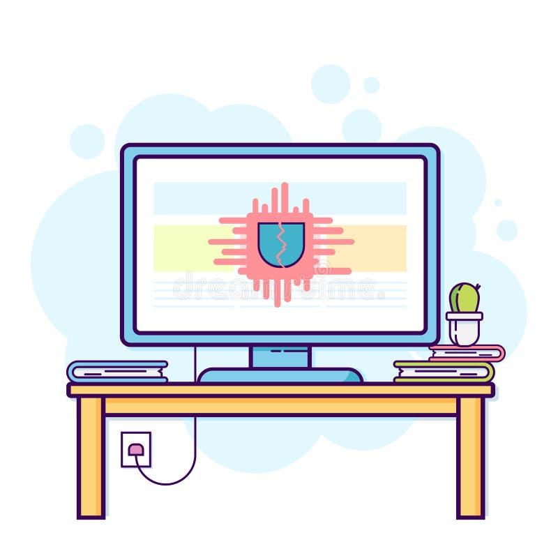 Płaska kreskowa ilustracja biurowy komputer z krakingową ochroną Nowożytny wektorowy pojęcie, royalty ilustracja