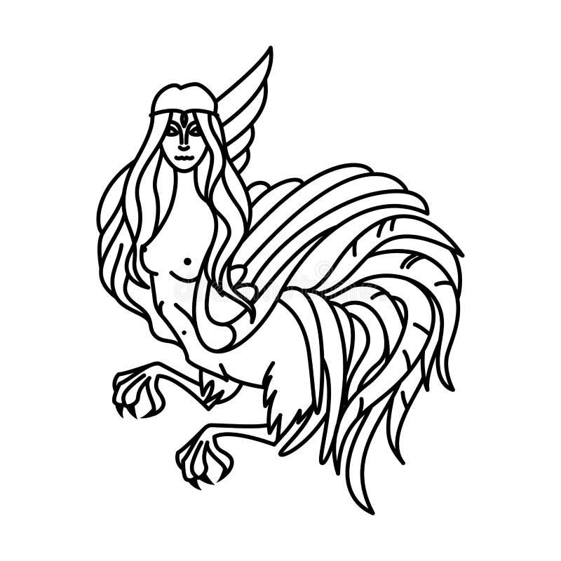 Płaska liniowa harpy ilustracja ilustracja wektor