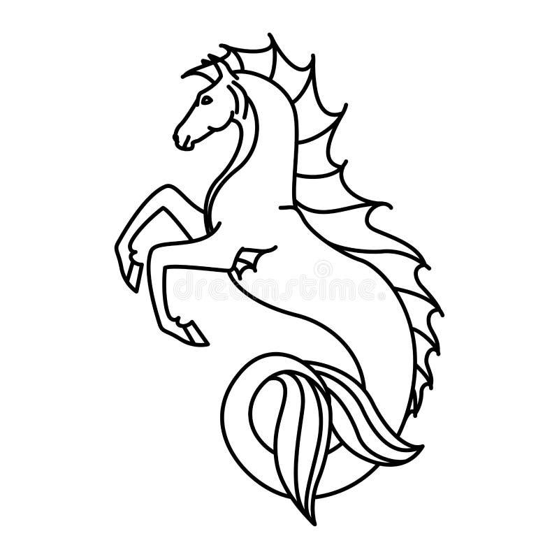 Płaska liniowa hippocampus ilustracja royalty ilustracja