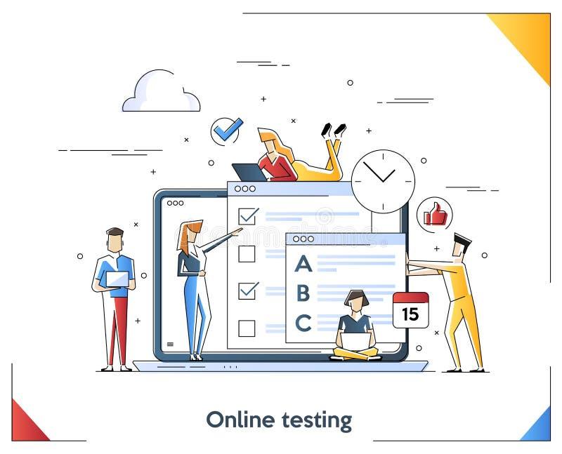 Płaska liniowa ilustracja Online testowanie pojęcie Nauczanie online, edukacji kreskowej sztuki pojęcie r?wnie? zwr?ci? corel ilu zdjęcia royalty free