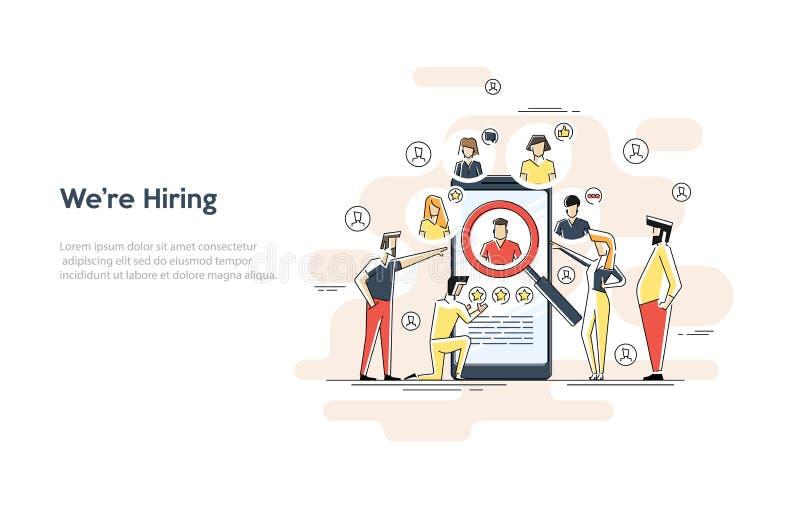 Płaska liniowa ilustracja rewizja pracownika pojęcie Og?lnospo?eczna prezentacja dla zatrudnienia Infographic dla rekrutowa? Sie? ilustracji