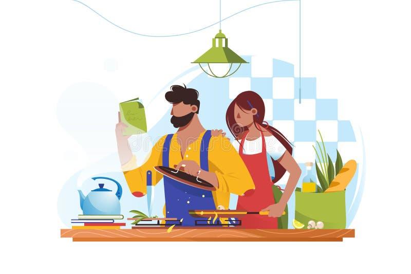 Płaska młodego człowieka i kobiety para gotuje wpólnie ilustracja wektor
