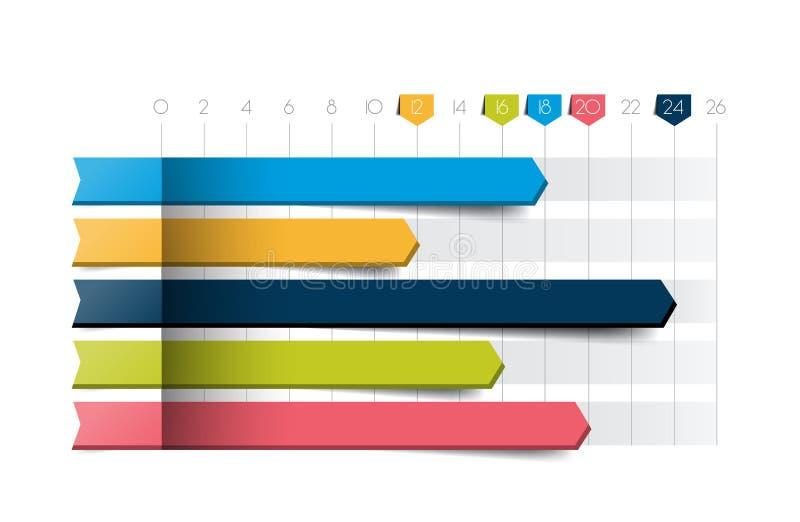 Płaska mapa, wykres Błękitny kolor Infographics biznesu elementy ilustracja wektor