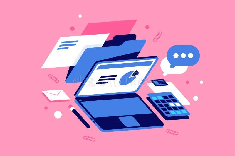 Płaska miejsce pracy z doc, laptopu, wykresu, wiadomości, poczty i poczty ikoną, ilustracja wektor