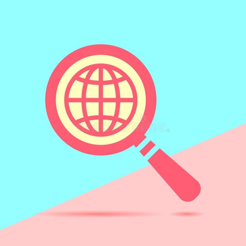 płaska nowożytna czerwień powiększa - szklana rewizi ikona z kuli ziemskiej planetą e ilustracja wektor