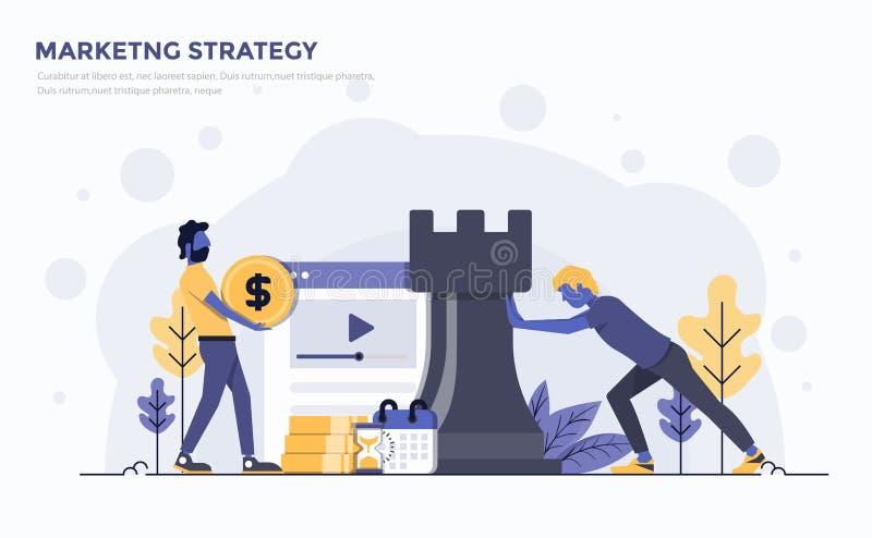 Płaska Nowożytna pojęcie ilustracja - strategia marketingowa ilustracji