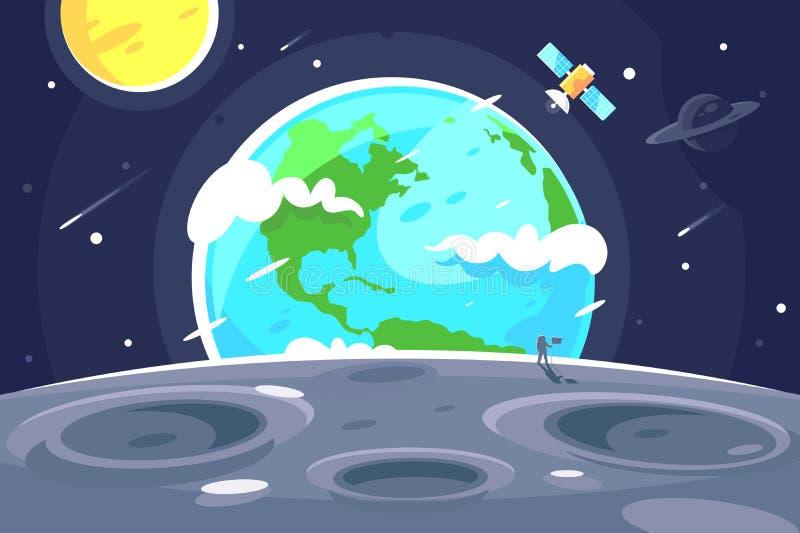 Płaska planety ziemia od księżyc na ciemnej przestrzeni z słońca i satelity tłem ilustracji