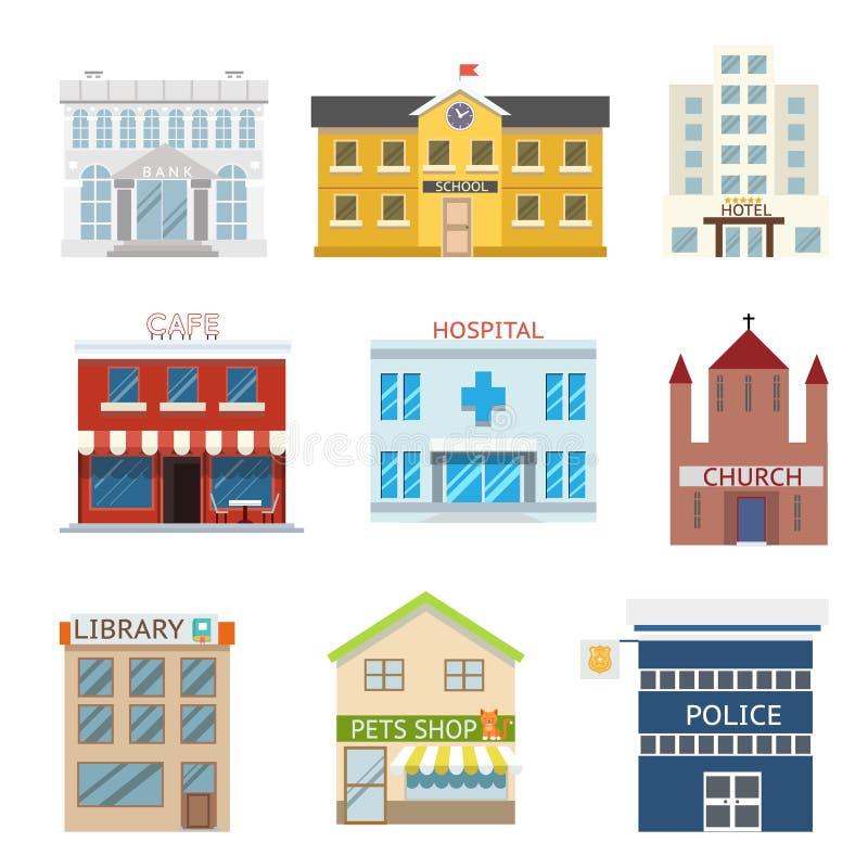 Płaska projektów domowych budynków administracyjna religijna handlowa wektorowa ilustracja royalty ilustracja