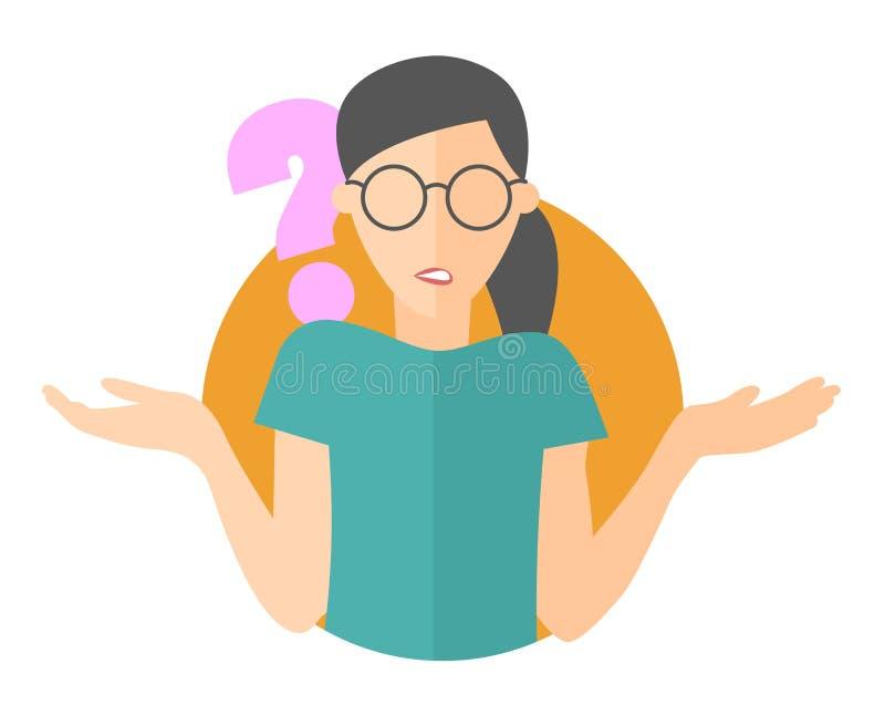 Płaska projekt ikona Ładna dziewczyna w szkieł wątpieniach Kobieta z znakiem zapytania Po prostu editable odosobniona wektorowa i ilustracji