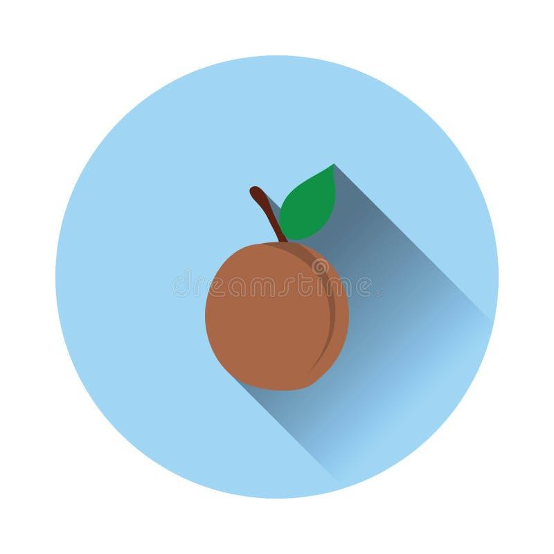 Płaska projekt ikona brzoskwinia royalty ilustracja