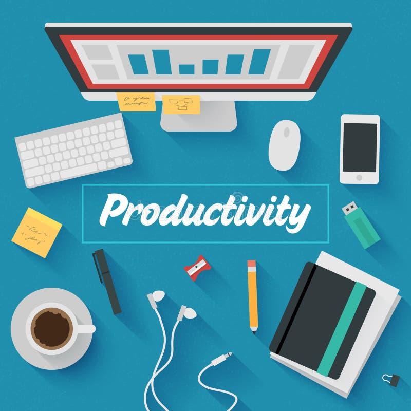 Płaska projekt ilustracja: Produktywny biurowy miejsce pracy ilustracja wektor