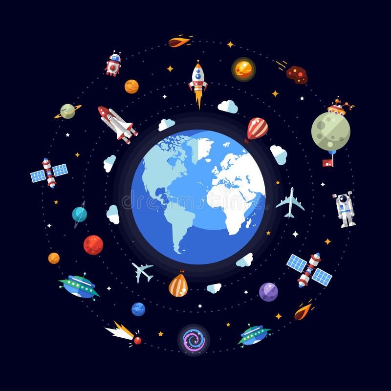 Płaska projekt ilustracja ziemia z astronautycznymi ikonami ilustracja wektor