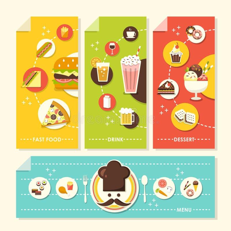 Płaska projekta pojęcia ilustracja dla jedzenia i napoju ilustracja wektor