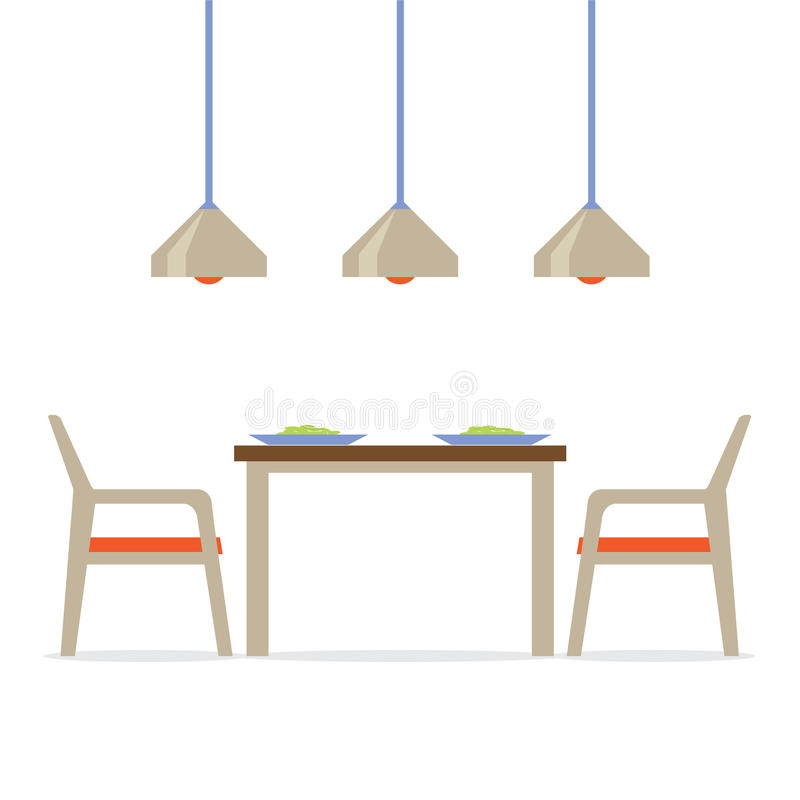 Płaska projekta wnętrza jadalnia ilustracja wektor