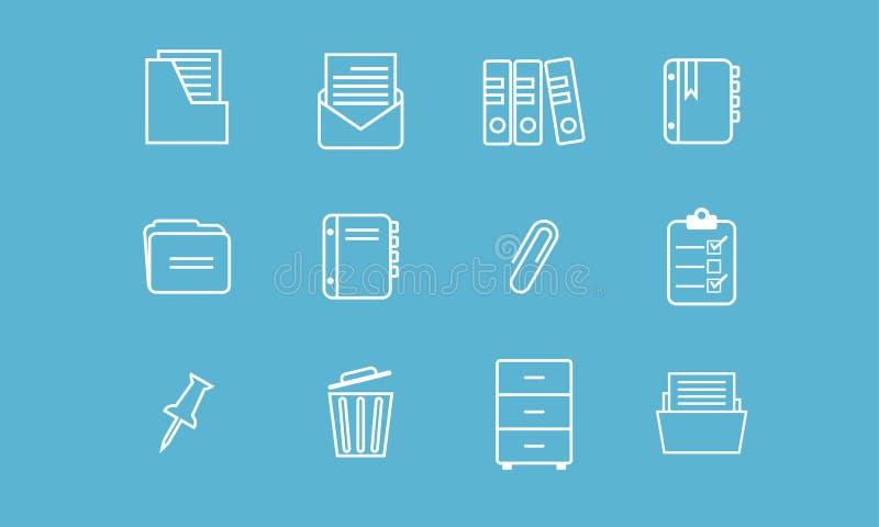 Płaska prosta minimalistyczna biurowa kartoteka organizatora ikona ilustracja wektor