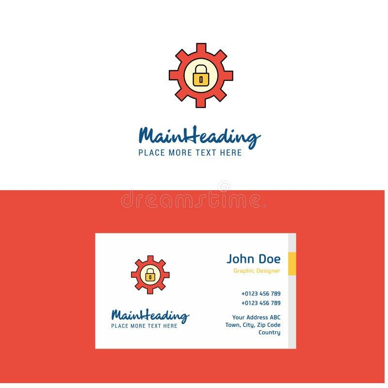 Płaska przekładnia blokujący logo i Odwiedzać Karcianego szablon Busienss pojęcia logo projekt ilustracja wektor