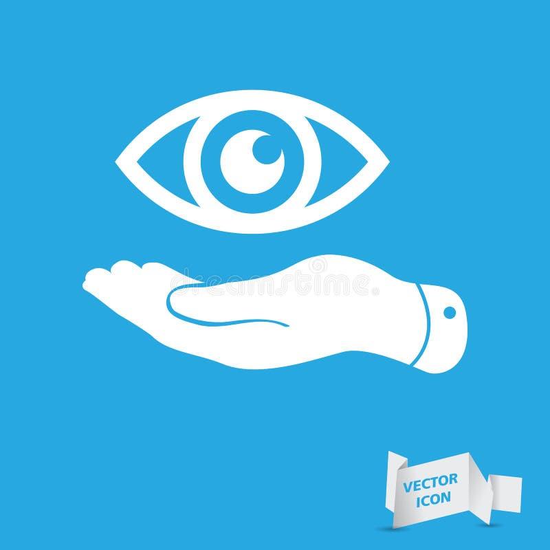 Płaska ręka reprezentuje oko ikonę royalty ilustracja
