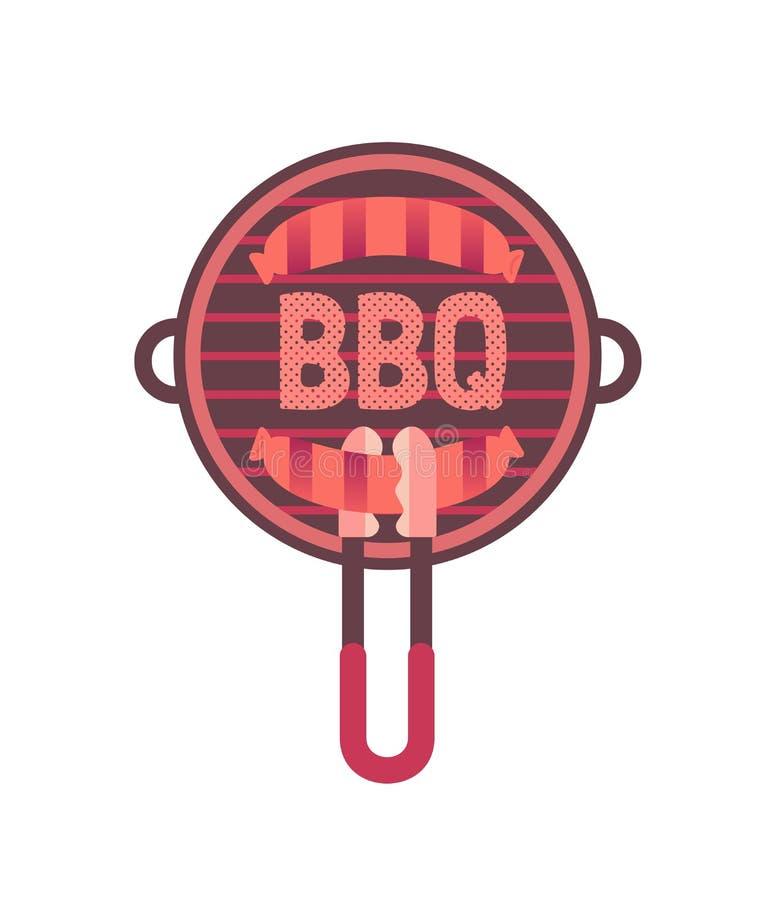 Płaska ręka rysujący grill piec na grillu kiełbasa odizolowywającą ikonę ilustracja wektor