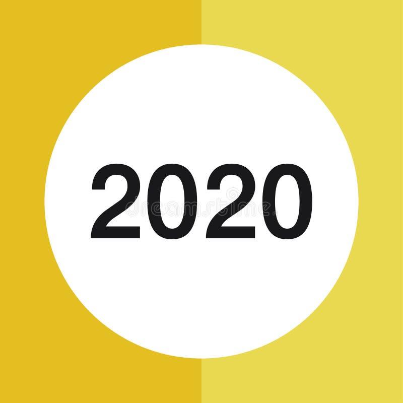 Płaska rok kalendarzowy 2020 ikona szcz??liwego nowego roku, Szcz??liwy nowy rok 2020 royalty ilustracja