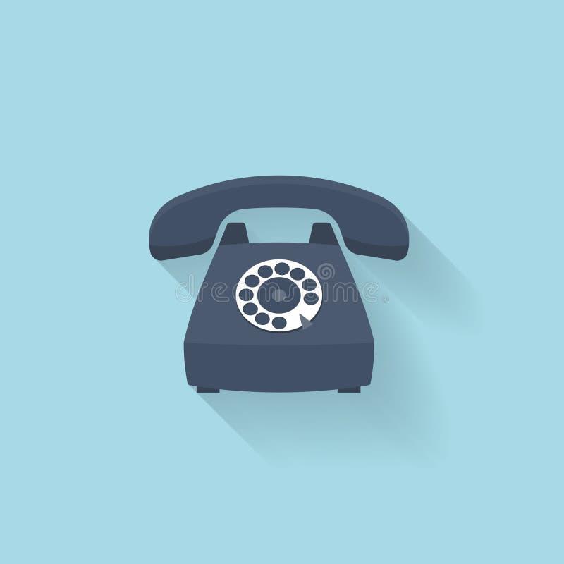 Płaska sieć interneta ikona Starego rocznika retro telefon ilustracja wektor