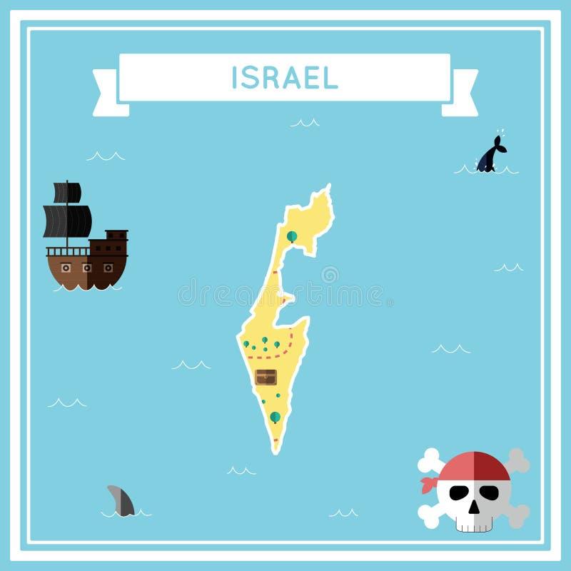 Płaska skarb mapa Izrael ilustracji
