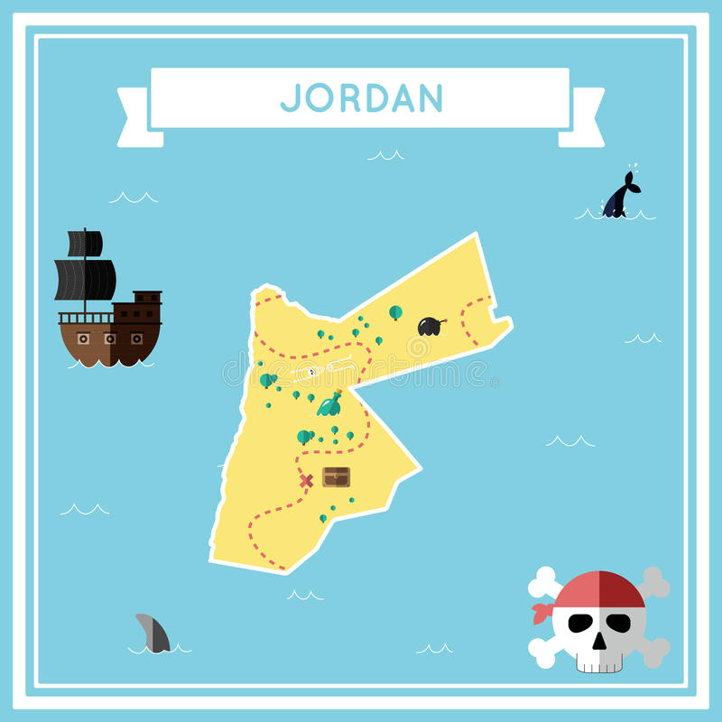 Płaska skarb mapa Jordania royalty ilustracja
