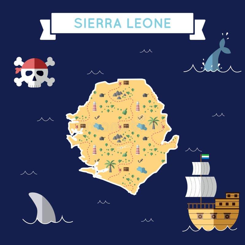 Płaska skarb mapa Sierra Leone ilustracja wektor
