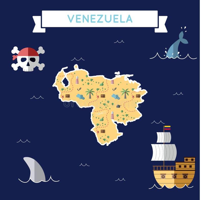 Płaska skarb mapa Wenezuela, Bolivarian royalty ilustracja