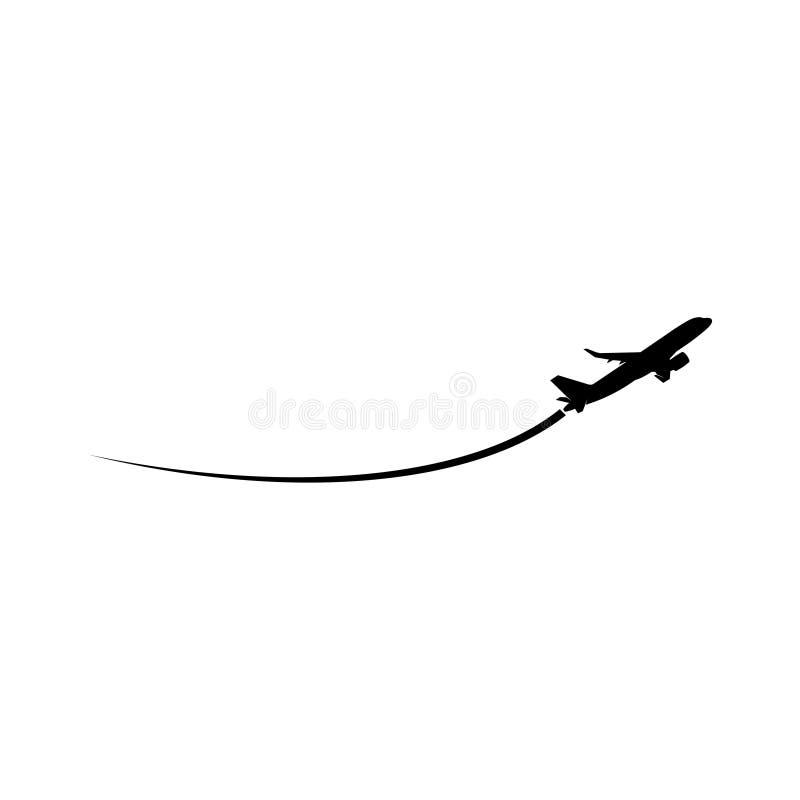 Płaska sylwetka na białym tle, Samolotowym logo lub ikonie, ilustracja wektor