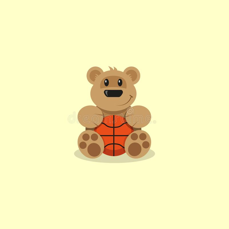 Płaska sztuki kreskówki ilustracja kreskówka niedźwiedzia koszykówka royalty ilustracja