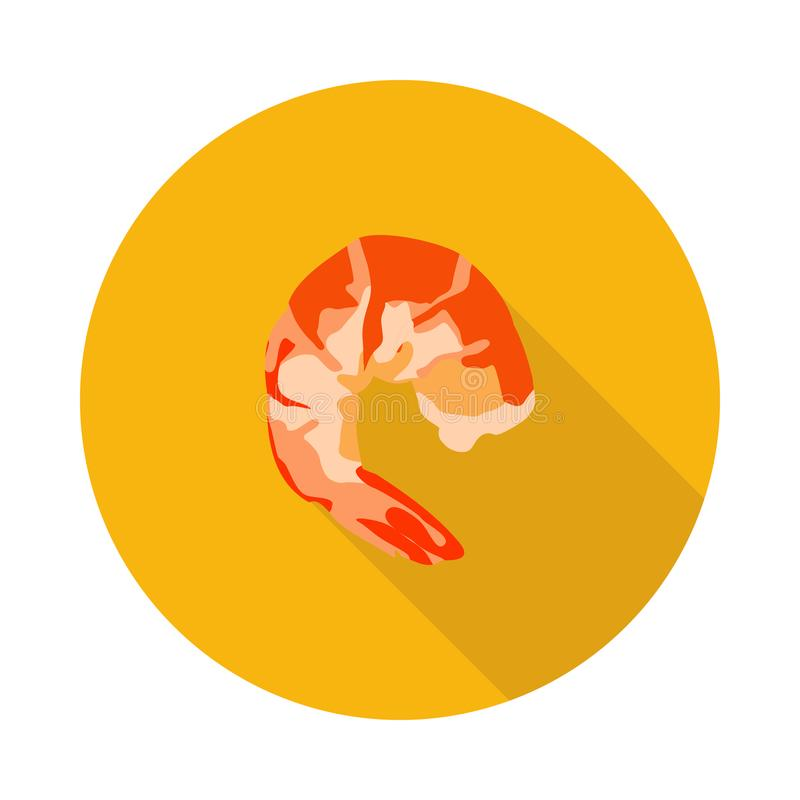 Płaska tygrysia krewetkowa ikona ilustracji