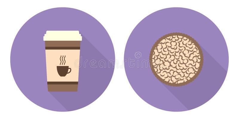 Płaska wektorowa filiżanka kawy i kulebiak royalty ilustracja