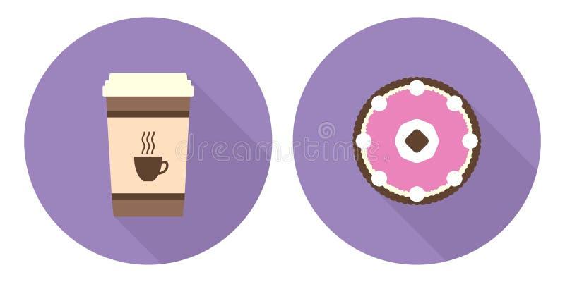 Płaska wektorowa filiżanka kawy i kulebiak ilustracji