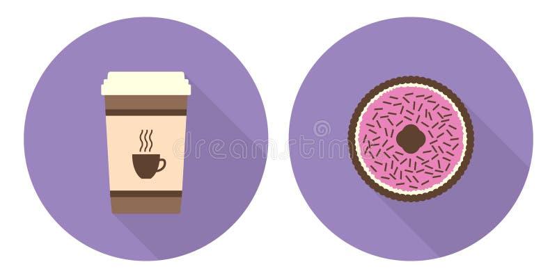 Płaska wektorowa filiżanka kawy i kulebiak ilustracja wektor