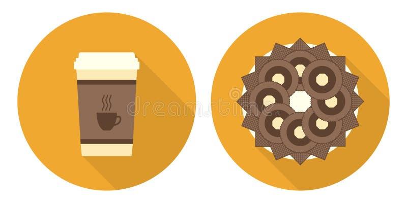 Płaska wektorowa filiżanka kawy, talerz z ciastkami i opłatki, ilustracja wektor