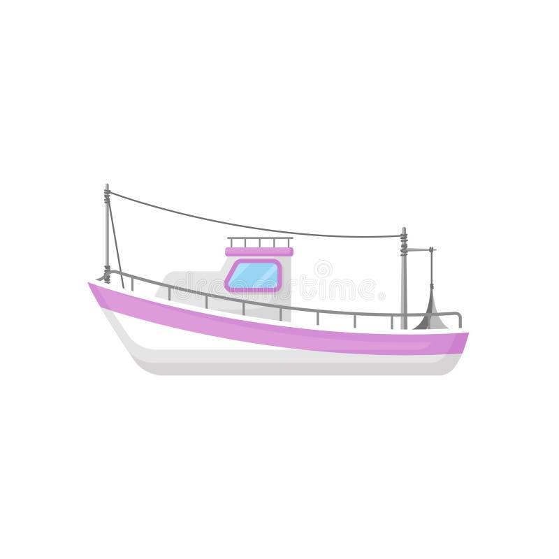 Płaska wektorowa ikona łódź rybacka z trałować przekładnię Przemysłowy morski naczynie Oceanu lub morza temat ilustracja wektor