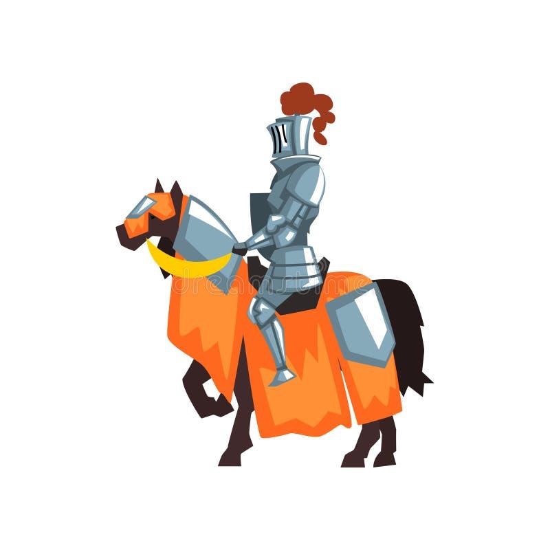 Płaska wektorowa ikona średniowieczny rycerz na horseback Opiekun królestwo Królewski wojownik jest ubranym błyszczącego żelazneg ilustracja wektor