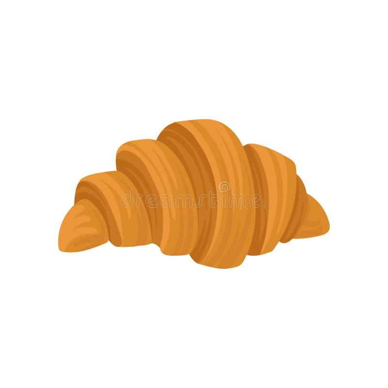 Płaska wektorowa ikona świeży francuski croissant odizolowywający na białym tle Słodki jedzenie dla śniadaniowego ciasto tematu royalty ilustracja