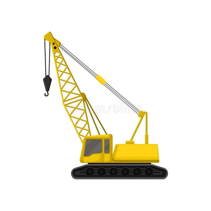 Płaska wektorowa ikona żółty żuraw na śpioszku tropi Ciężka maszyna z haczykiem używać w przemysle budowlanym dla podnosić royalty ilustracja