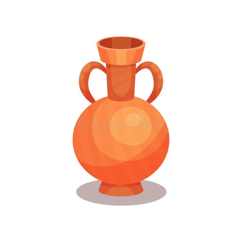 Płaska wektorowa ikona antyczna amfora z dwa rękojeściami i wąską szyją Wysoki ceramiczny dzbanek dla wina Stara grka lub rzymian royalty ilustracja
