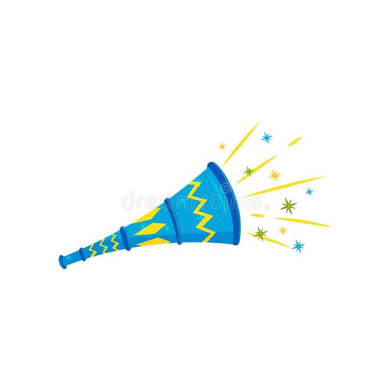 Płaska wektorowa ikona błękitny klingeryt zabawki róg Świąteczna trąbka Brazylijski vuvuzela Karnawałowy hałas ilustracji