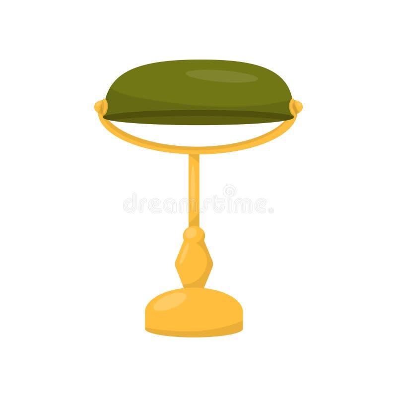 Płaska wektorowa ikona bankowa ` s lampa Biurowy wystroju element Elektryczna biurko lampa z żółtym mosiężnym stojakiem i zielony ilustracji